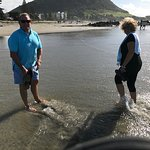 Alistair and Jennifer our Belle Mer hosts showing us Mt Maunganui beach
