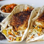 Simmons Delacata Style Blackened Catfish Tacos with Mango Mint Coleslaw