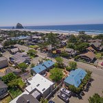 Drone picture of Inn at Haystack Rock