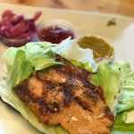 Thai Dye Salmon with green wrap and house made red cabbage slaw, curry mayo & sweet thai chili s