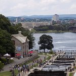 Bytown museum and the locks with the Ottawa river in background