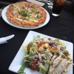 Chicken Caesar salad and BBQ chicken pizza.