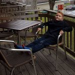The grandson chilling on the balcony