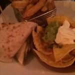 Nachos, Chicken Wrap and chips