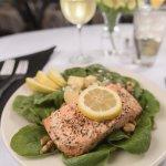Baked Atlantic Salmon on Spinach Salad