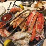 An Amazing seafood plater of Jumbo shrimp, King crab, Stone crab
