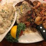 Rib-eye w/shrimp and mashed potatoes
