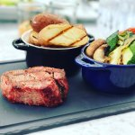 The Beef Tenderloin with Grilled Veggies and Stake Potatoes And the Cheesecake