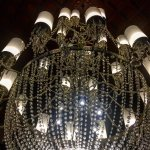 The Chandelier which greets guests in the lobby.