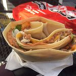 Taco Crepe stuffed to brim with meats