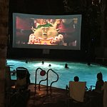 "Kids' movie projected on a ""screen"" next to the pool"