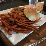 Bison burger w/ sweet potato fries