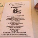 Listado de las distintas raciones de fritura a precios de 6€