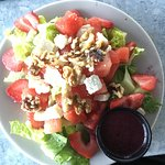 Watermelon and strawberry salad with blueberry vinaigrette