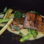 Lunch set menu: Pork belly: Sesame pork rib, sweet potato and banana puree, crunchy greens