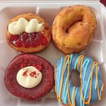 Red velvet, blueberry orange, cheesecake, and strawberry