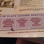 Blue Plate Dinner Specials after 5pm S-TH