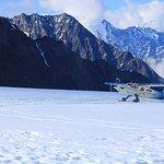 Plane landing on the glacier