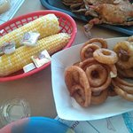 Corn on the cob and onion rings