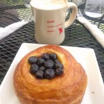 Almond milk mocha and lemon blueberry danish