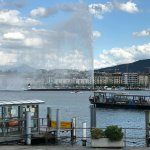 view of the Jet d'eau fountain from the boat house