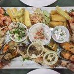 Fijian seafood platter with kokoda, cassava chips and salads
