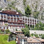 Hotel Castell. Top floor, reception/bar area, accessed from road. Rooms on floors beneath