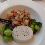 Kind of stir fried veggie & seafood served with rice