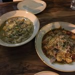 Gnocchi with Wild Mushroom and Truffle Sauce (left), Gnocchi with Slow Cooked Duck Ragu (right)