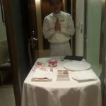 In Room Dining Service - with folded hands and a Smile!!