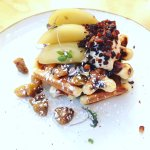 Belgian waffles, bacon bits, whisky poached apple, maple mascarpone, burnt butter chestnuts