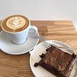 flat white and kaf brownie