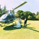 Arrivo degli Sposi con l' elicottero