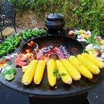 BJs BBQs on the terrace, great veggies