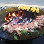 BBQs on the terrace, garlic prawns