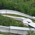 A look at the winter bobsled track as seen from the bus tour