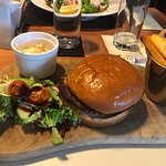 Our meals on the 20/07/17. Cheeseburger and prawn salad. Very good food but the service very fla