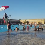 Large outdoor pool with diving area