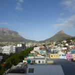 View of Table Mountain on left and Lion's Head on right with Bo-Kaap in the foreground