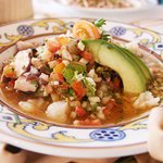 octopus and fish ceviche from Vista Ballenas