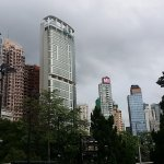 The skyscrapers around the park.