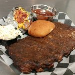 Half Rack of fantastic home-smoked Ribs! All our BBQ sauces are homemade!