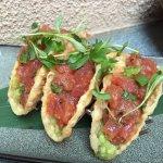 Tuna taco's. Small but loaded with fresh tuna.