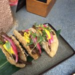 Skirt stake taco's. Small, but with adding a drop of chilli paste KAPOW