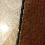 Frayed carpet.
