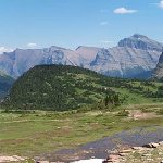 Panoramic photo of our drive up towards the Visitor Center where the trail to Logan Pass is clos