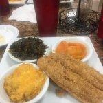 Catfish, macaroni & cheese, candied yams, and collard greens