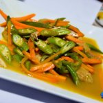 Steamed fish loaded with veggies