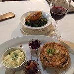 Jemima's Game Pie, with side veg order, and merlot