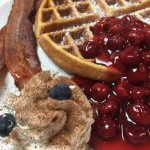 Waffle w/hot cherries, whipped cream & bacon
